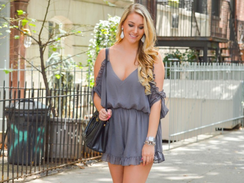 Grey Ruffled Romper
