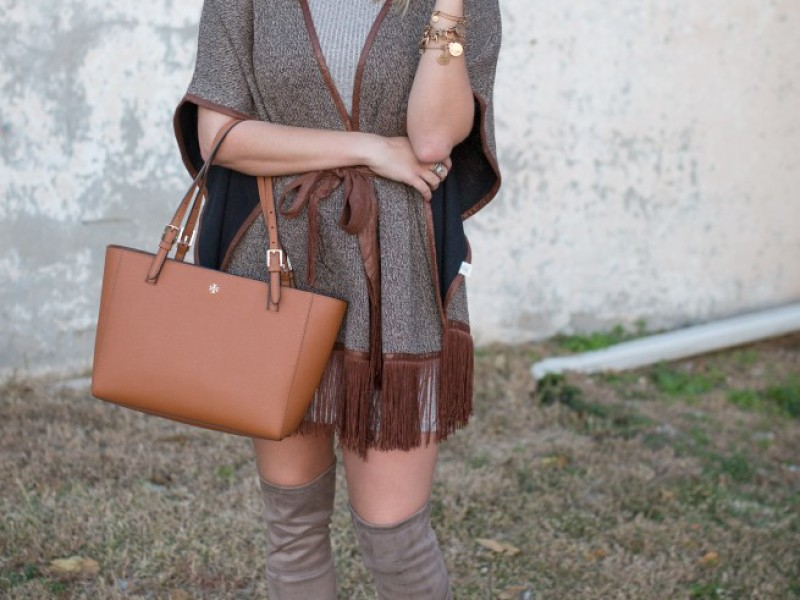 Sleeveless Sweater Dress + Fringe Poncho