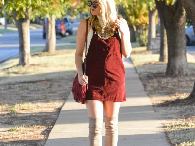 Burgundy Pinafore Dress