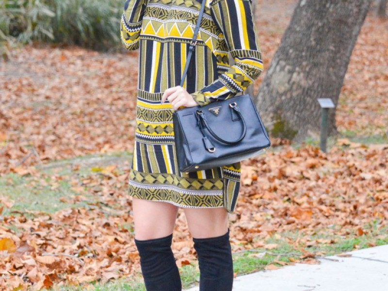Yellow + Black Printed Shift Dress