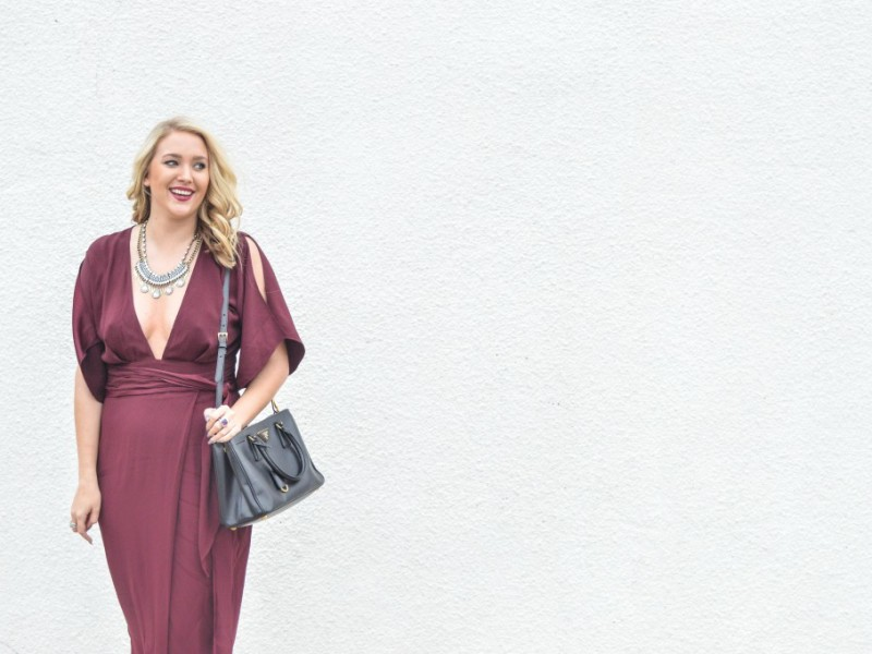 Holiday Style: Burgundy Plunge Dress