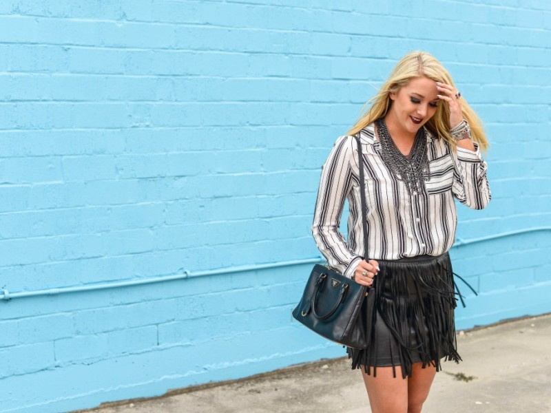 Fringe Skirt + Stripes