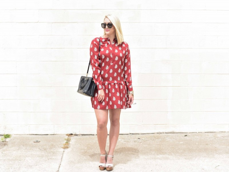 Crimson Drop Waist Dress