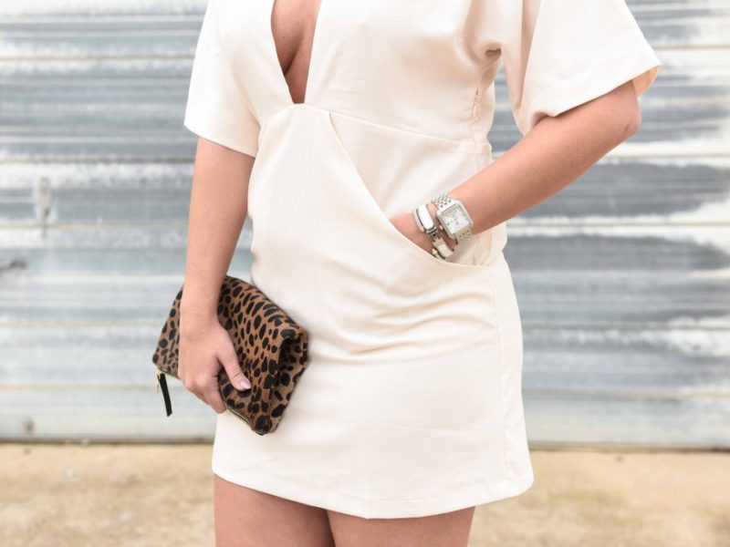 Off White Plunge Dress