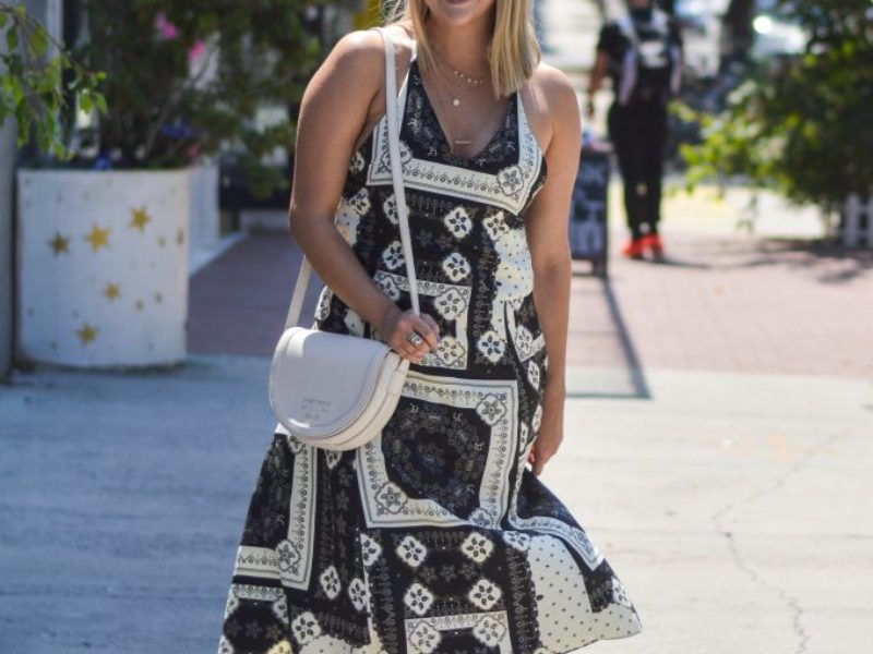 Black and White Scarf Dress