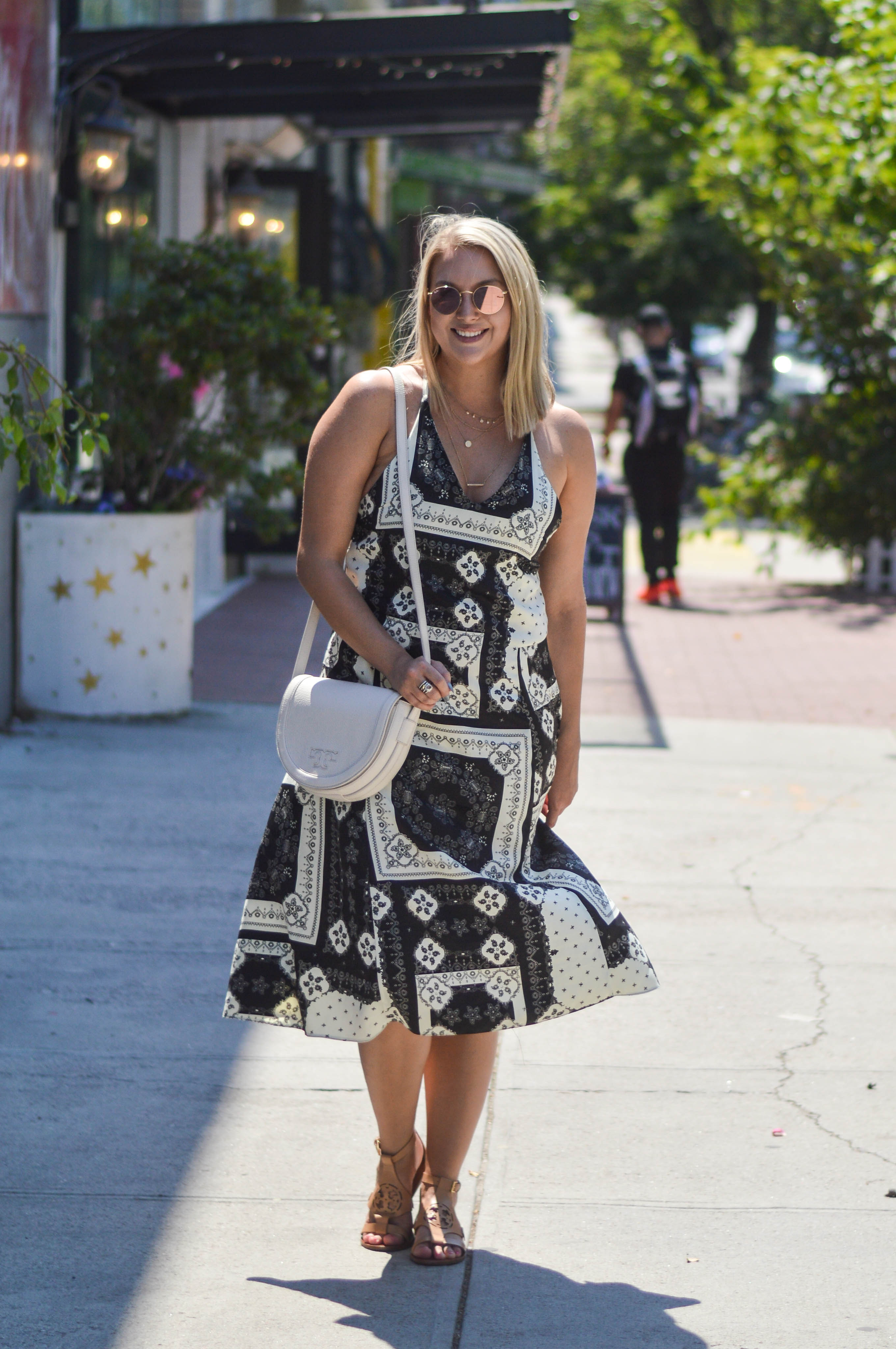 aea9a26ab66 Black and White Scarf Dress - Kayleigh s Kloset