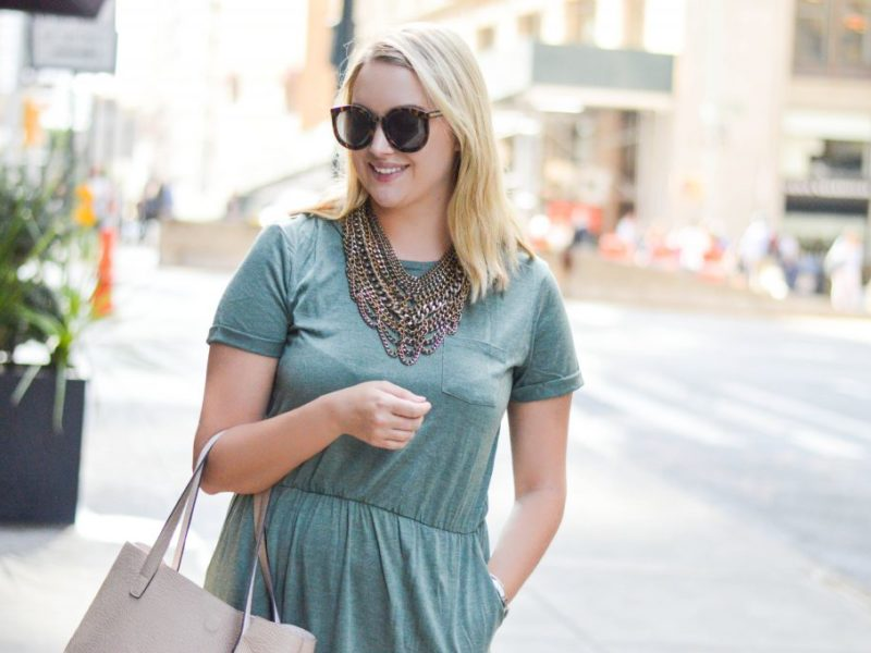 Casual Olive T-Shirt Dress
