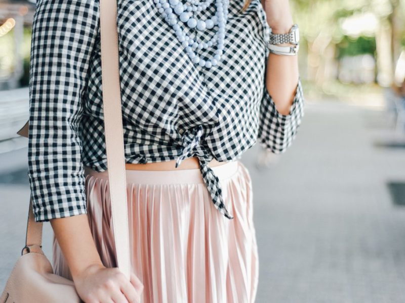 Gingham+Pleated Midi Skirt