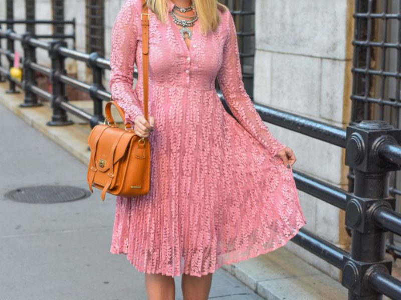 Pink Lace Midi Dress for Fall