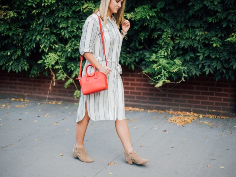 Navy and White Midi Dress for Fall
