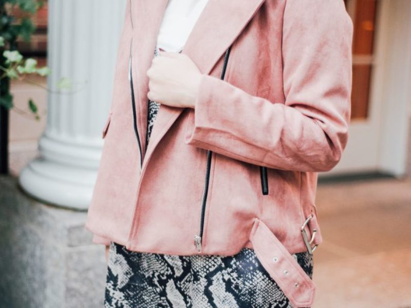 Snakeskin Slip Dress + Pink Suede Jacket