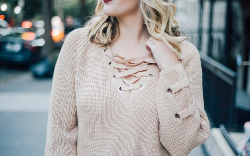Lace Up Sweater + Pleated Midi Skirt