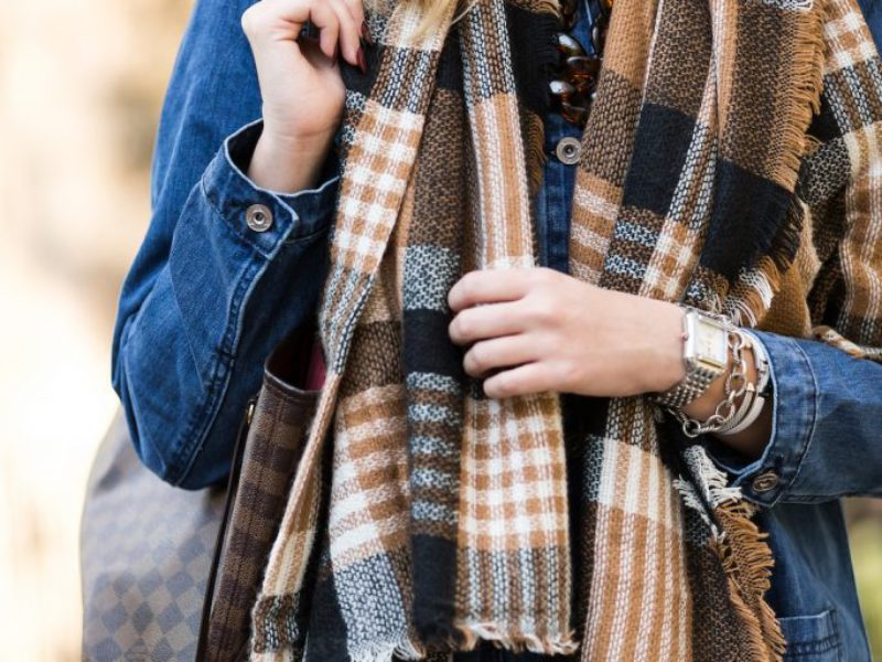 Frayed Denim + Oversized Plaid