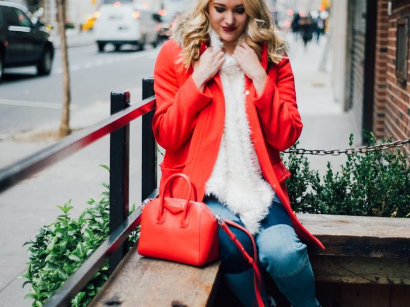 Red Parka + Faux Fur Poncho