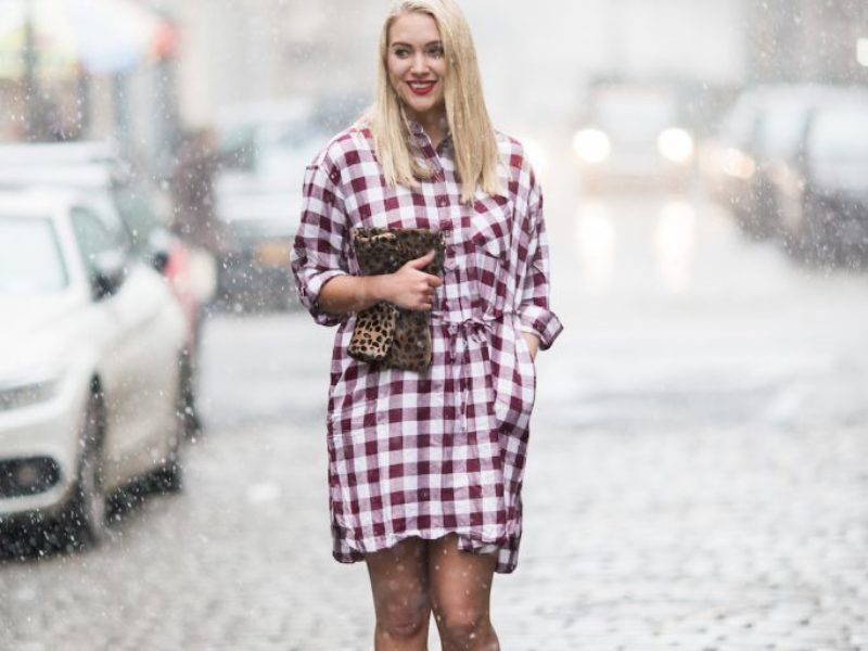 Print Mixing with a Red Flannel Dress
