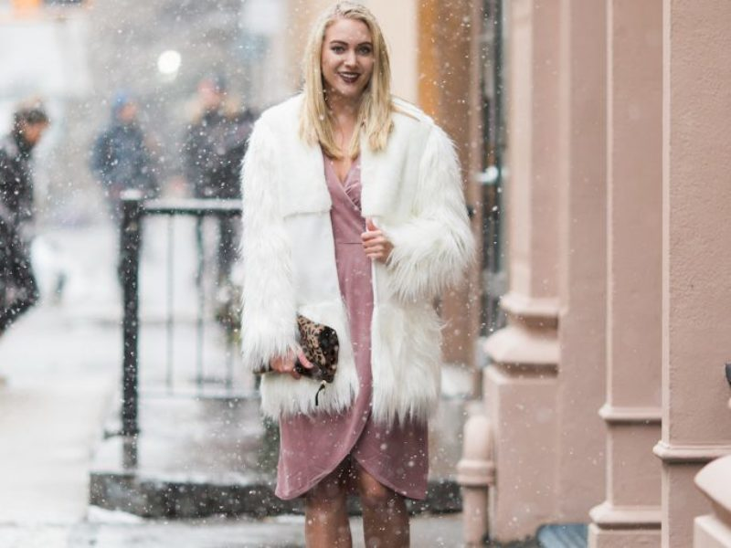White Faux Fur + Pink Wrap Dress
