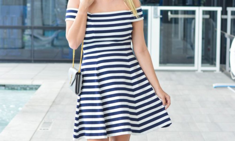 Navy and White Striped Off the Shoulder Dress
