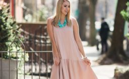 Blush Flounce Midi Dress
