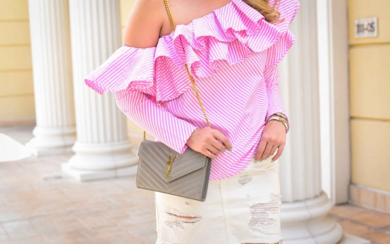 Pink Striped Ruffle Top