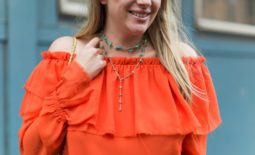 One Shoulder Ruffle Blouse + Wednesday's Weekly Wishlist: Bright Accessories