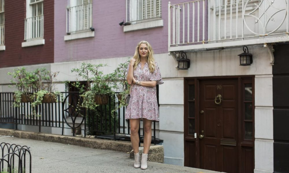 Mauve Floral Dress for Fall