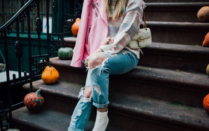 Pastel Sweater and Hot Pink Moto Jacket
